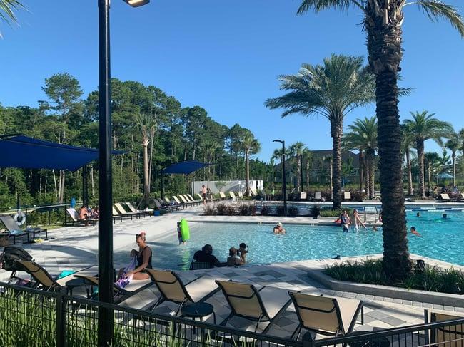 Residents enjoying pool at eTown
